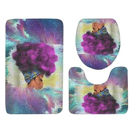 Amazon Com Bathroom Rugs Misyaa 3pc Exotic Girl Soft Bath Rugs