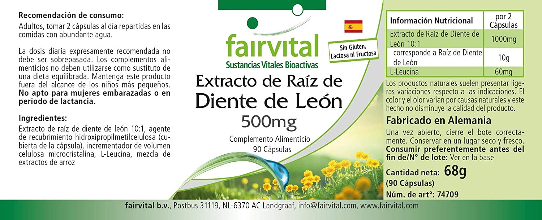 Raíz de Diente de León cápsulas 500mg - VEGANO - dosis alta ...