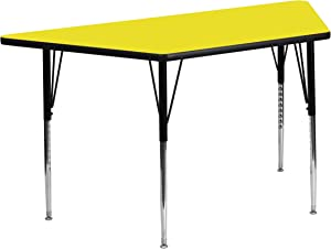Flash Furniture 25''W x 45''L Trapezoid Yellow HP Laminate Activity Table - Standard Height Adjustable Legs