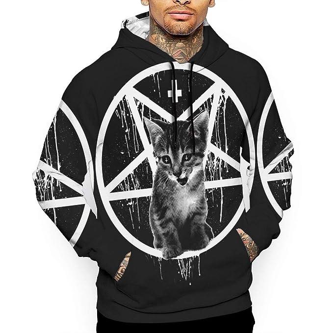 Amazon.com: Satanic - Sudadera con capucha, diseño de gato ...