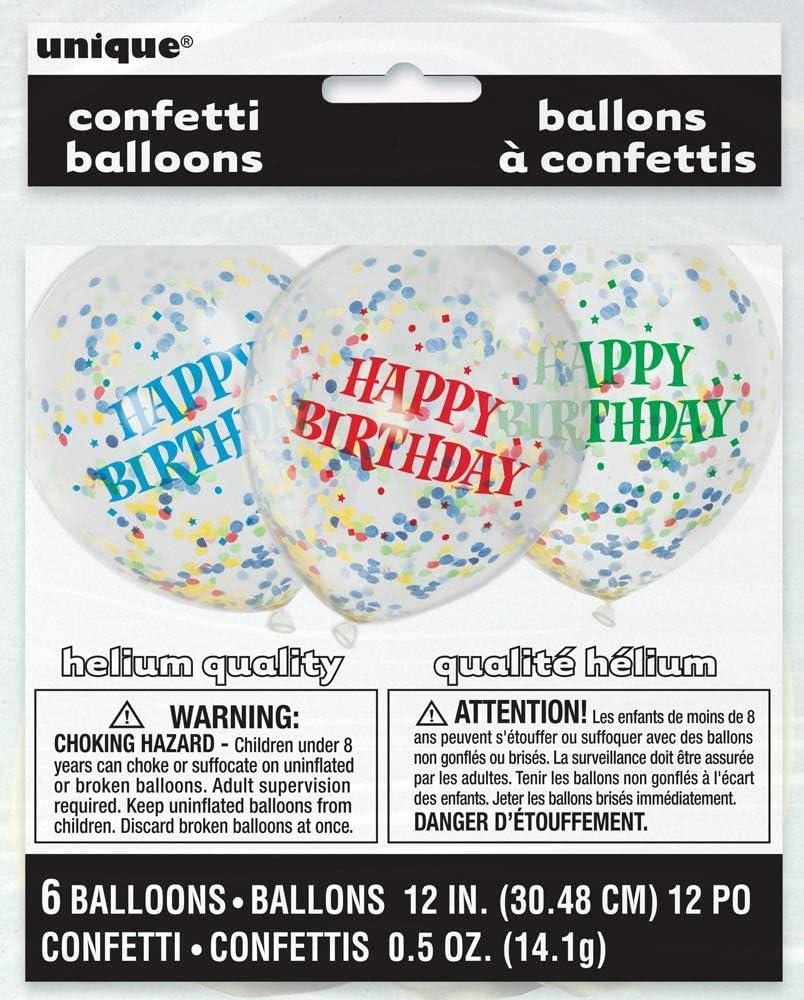 Blanc Paquet de 6 Unique Party 58114 30 cm Ballons /à Confettis