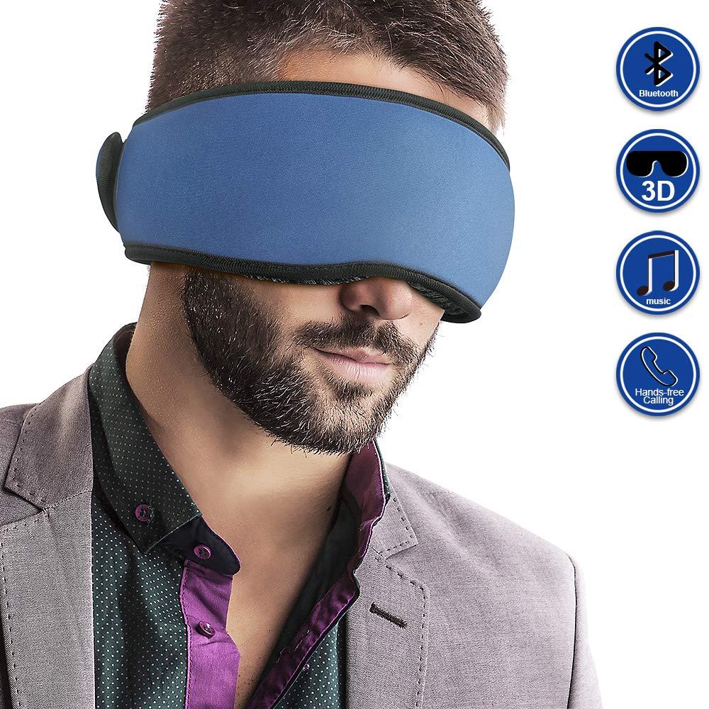 Mydeal Bluetooth Sleep Mask Headphone Wireless 3D Sleep Eye Mask Headphone Sleepphone Speakers Mic for Men Women, Block Out Light, Soft Comfort Eye Shade Cover for Travel Yoga Meditation Gift - Blue