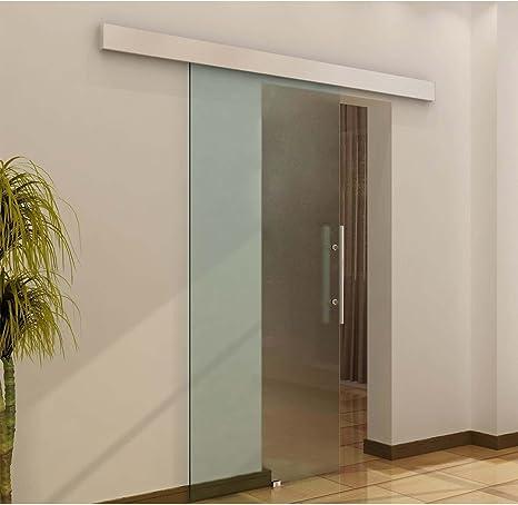HOMCOM Puerta Corredera 205x90cm Puertas Correderas Satinada Deslizantes Cristal sin Obra: Amazon.es: Hogar