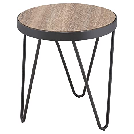 Amazon Com Accent End Table Round Wooden Top And Metal Legs