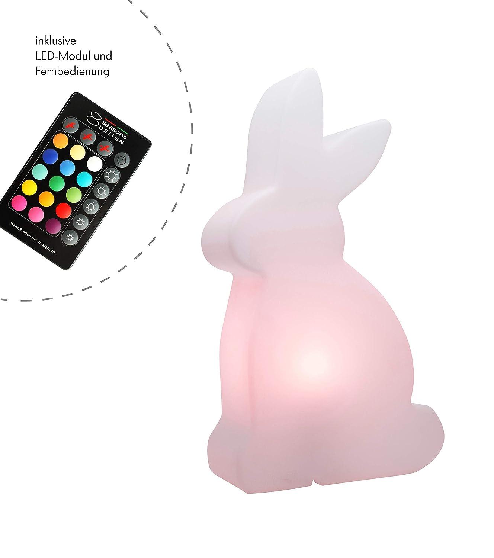 Weiãÿ 50 cm 8 seasons design LED Deko Hase Shining Rabbit (50 cm groß, RGB Farbwechsel, dimmbar, Garten, Vorgarten, Terrasse, Balkon, Wohnzimmer, Kinderzimmer) weiß