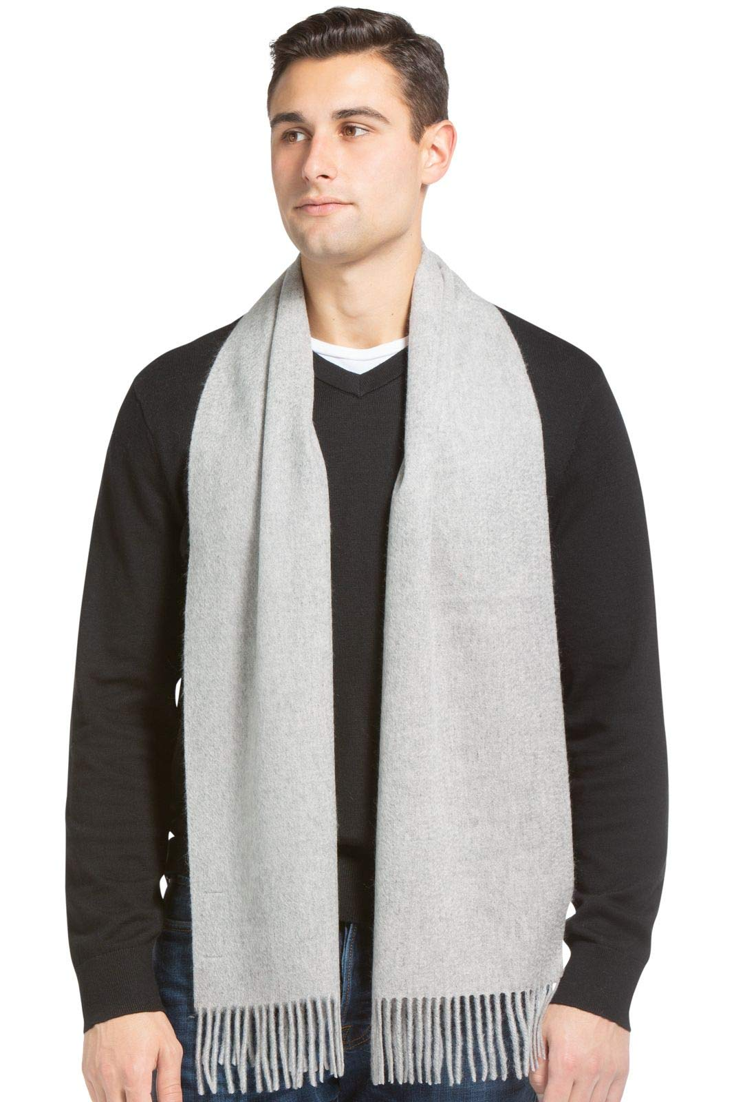 Fishers Finery Men's 100% Pure Cashmere Scarf; Warm and Stylish (Gray)