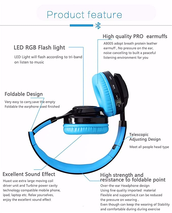 Amazon luckynv super bass foldable led cordless headphones amazon luckynv super bass foldable led cordless headphones with micophone sports stereo bluetooth wireless headset black sports outdoors ccuart Choice Image