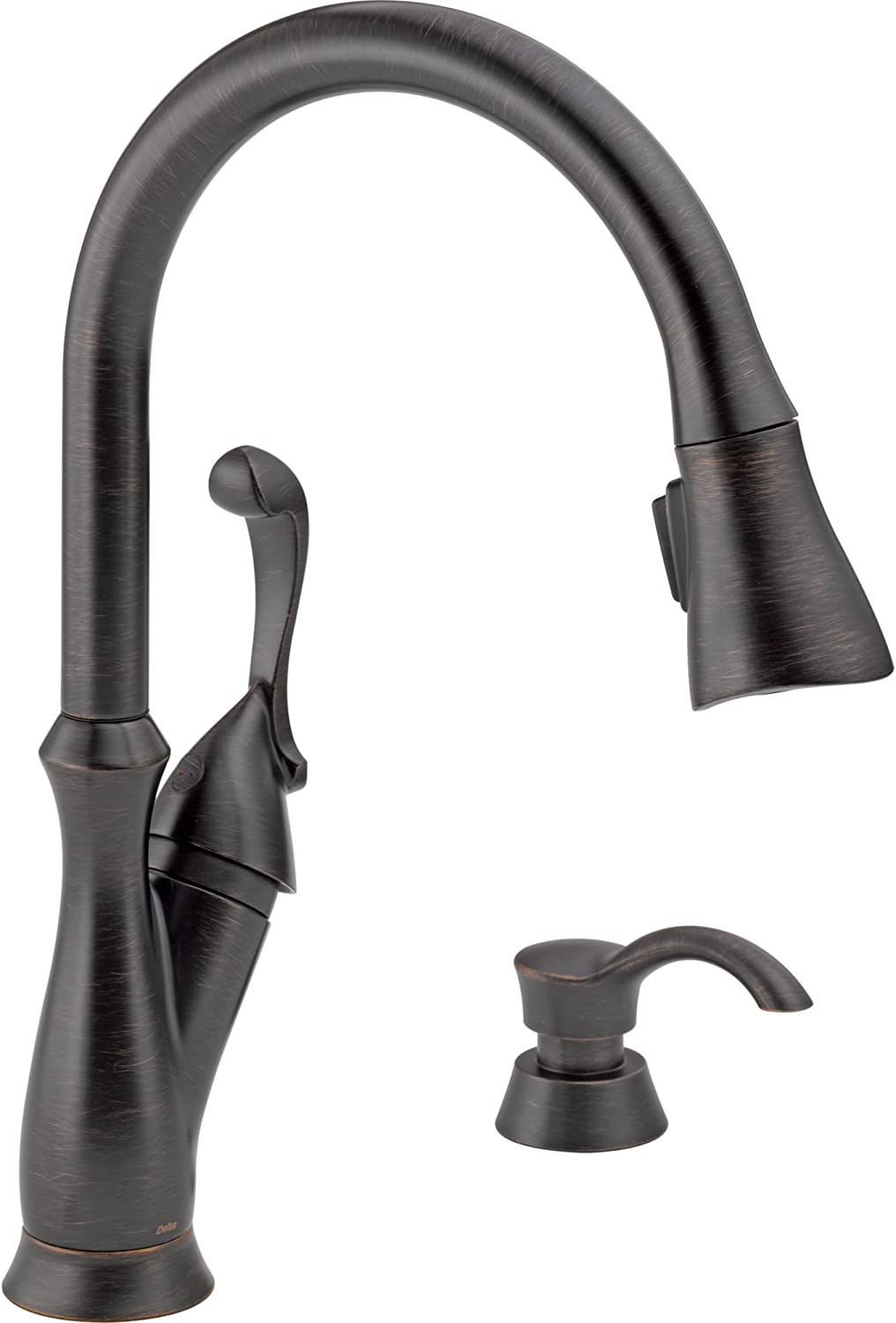 Delta Faucet Arabella Single-Handle Kitchen Sink Faucet with Pull Down Sprayer, Soap Dispenser and Magnetic Docking Spray Head, Venetian Bronze 19950-RBSD-DST