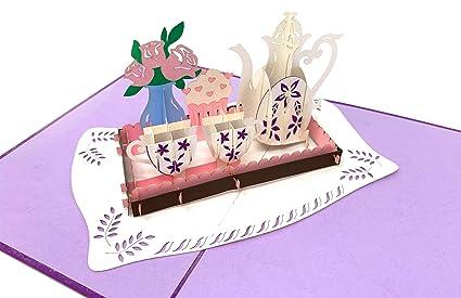 3D Pop Up Tarjetas de té con ramo de flores, rosas & Cupcake ...