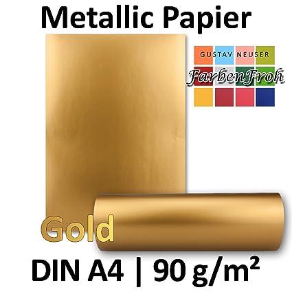 Metallic Papier DIN A4   Gold Metallic   25 Stück   glänzendes Bastelpapier mit 90 g/m²   Rückseite Weiß   Ideal für Einladun