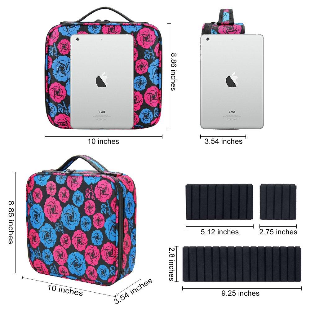 Makeup Organizer Case,Yolife Portable Cosmetic Bag Organizer with Brush Set Holder,Storage Case Travel Bag with Adjustable Dividers(10inch) (rose pattern)