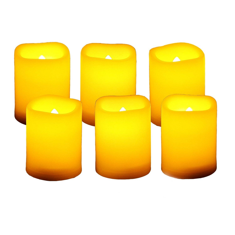 電池式 火を使わない揺らめく灯明キャンドル タイマー付き LED 装飾ライト ハロウィン クリスマス ウェディング パーティー イベント ホーム キッチン デコレーション デコレーション用品 6個パック 電池付き   B07HQBMLZC