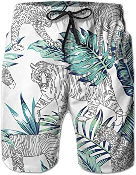 Casual Mens Swim Trunks Breathable Quick Dry Printed Beach Shorts Funny Dog Summer Boardshorts with Mesh Lining