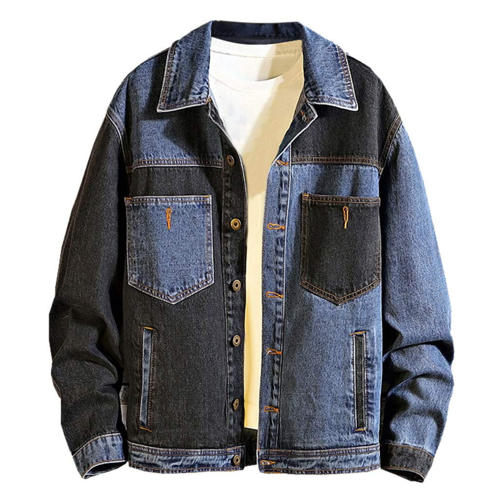 Men's Long Sleeve Denim Jacket,Clearance!! Males Winter Vintage Button Pockets Turn-down Collar Plus Size Coat Tops Blouse by cobcob men's Coat