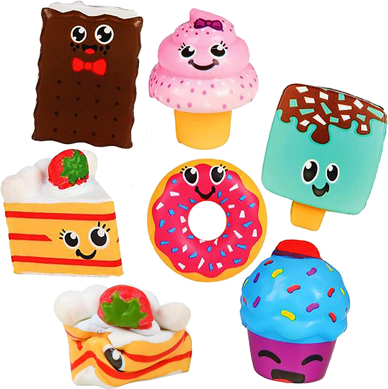 6 Squishy Toys for Kids Scented Slow Rising Squishies - Desert Food Cute Pack Ice Cream, Smores, Donut & More, 3 Inch - Stress Relief Fidget Squeeze Toy, Great Gift for Boys & Girls by 4E's Novelty