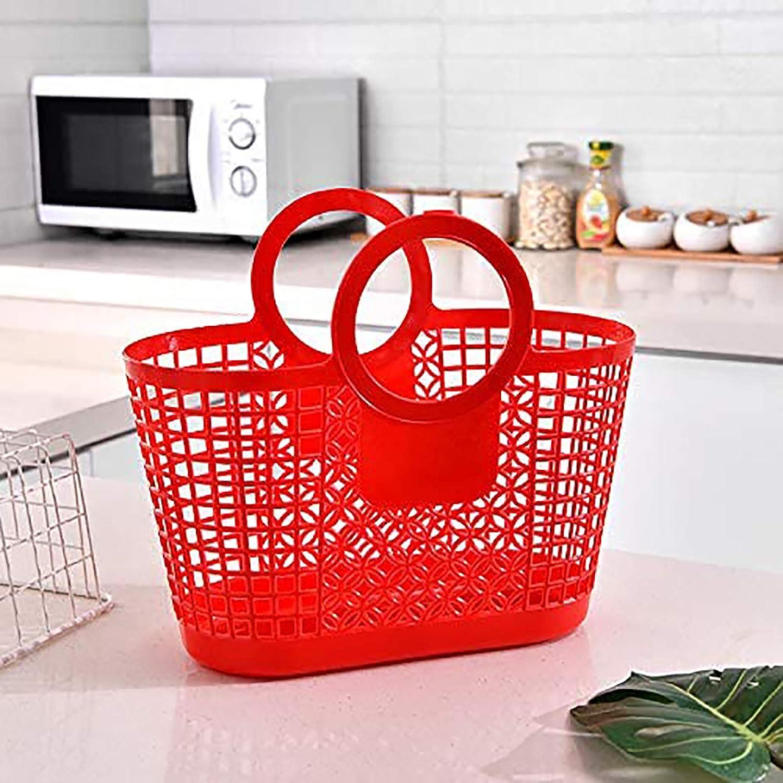 BANGSUN Cesta de almacenamiento de la compra con mango grande flexible de pl/ástico 4 piezas