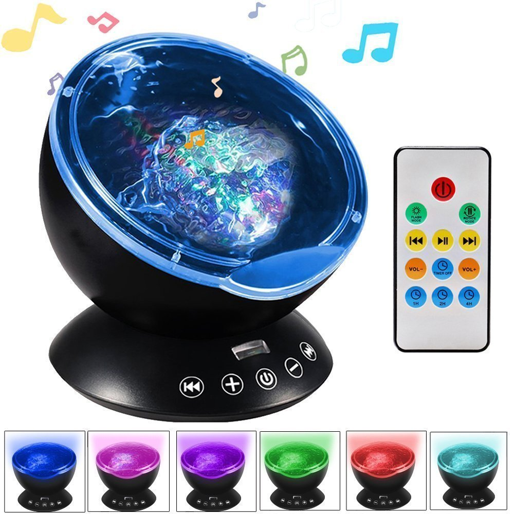 [Newest Design] Remote Control Ocean Wave Projector 12 LED & 7 Colors Night Light & Built-in Music Player for Living Room and Bedroom (Black) LIVSTON