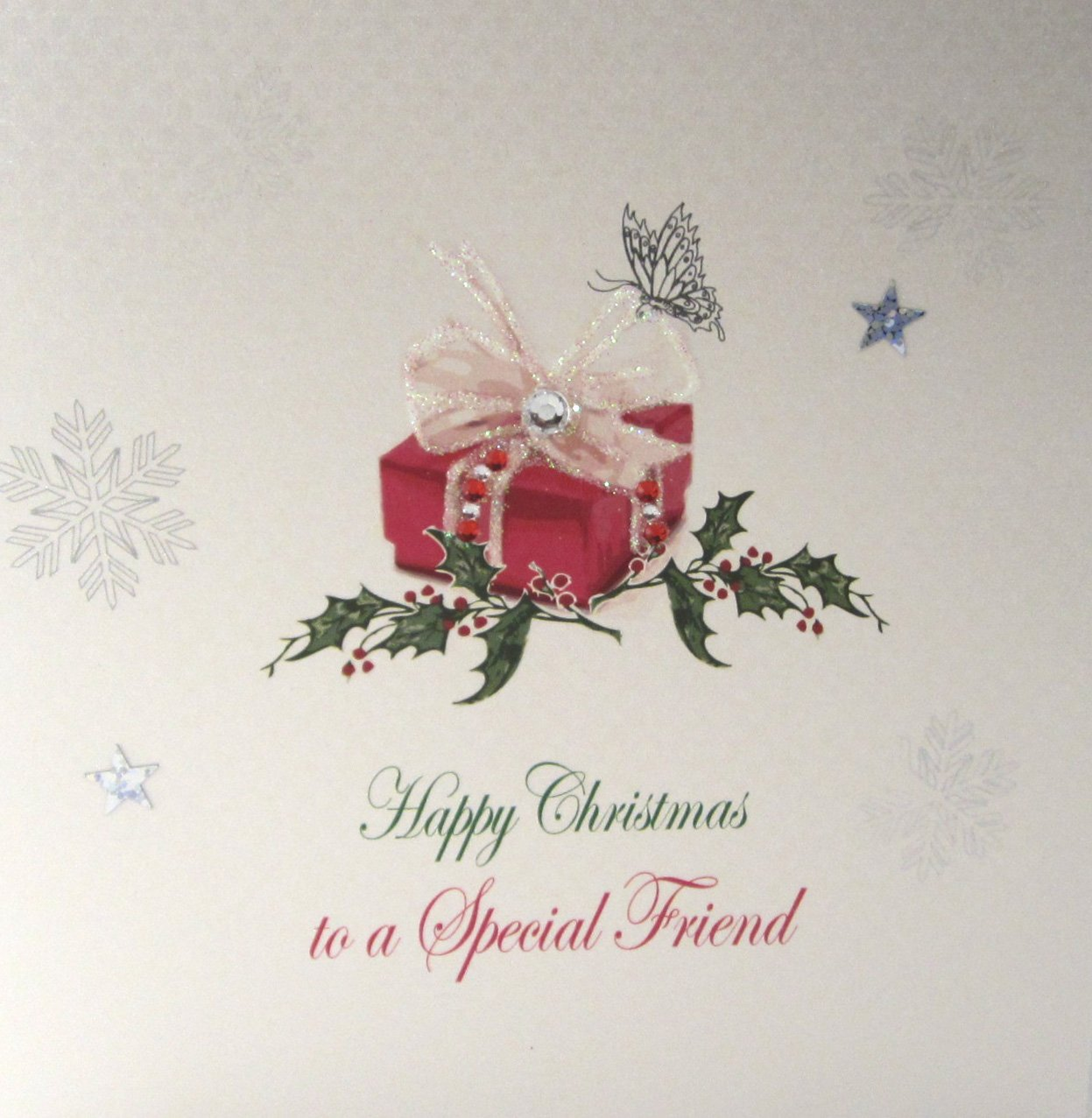 White Cotton Cards X94 Happy Christmas To A Special Friend Handmade