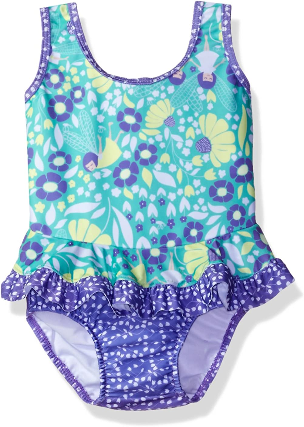 Flap Happy Girls' Baby UPF 50+ Stella Infant Ruffle Suit with Swim Diaper