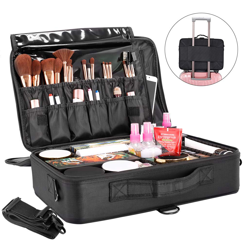 GZCZ Large Capacity 3 Layers Waterproof Travel Makeup Train Case Portable Cosmetic Case Makeup Organizer with Adjustable Dividers for Cosmetics Toiletry Digital Accessories (L, Black) by gzcz