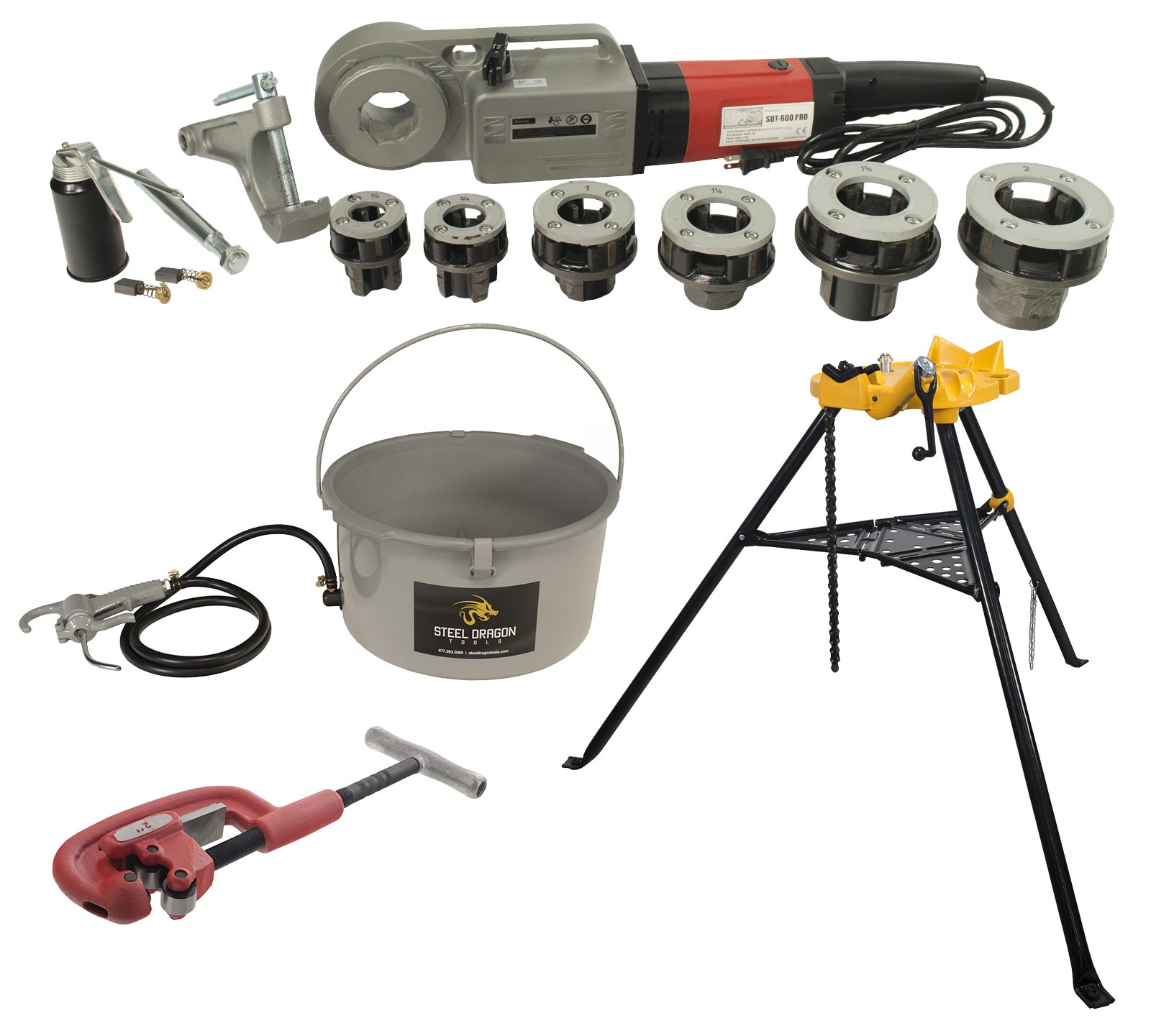Steel Dragon Tools 600 Pro Hand-Held Pipe Threader 460 Chain Vise, 418 Oiler, and 2A Cutter fits RIDGID12-R Dies