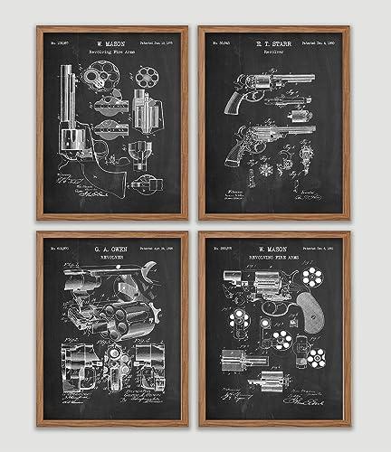 Amazon com: Ultimate Revolver Gun Patent Poster Set Hand Gun Art