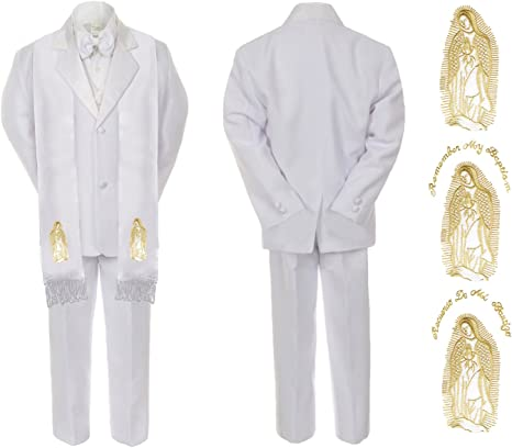 New Born Baby Boy Christening Baptism Church White Suit Mary Maria On Stole Sm-7