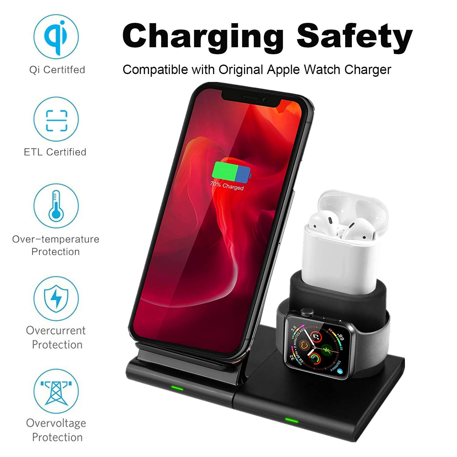 Hoidokly 3 in 1 Wireless Charger Qi Certified Fast Wireless Charging Stand Compatible with Apple Watch Series 1/2/3/4, AirPods 1/2, iPhone Xs/XS ...
