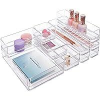 STORi Clear Plastic Makeup & Vanity Drawer Organizers | 10 Piece Set