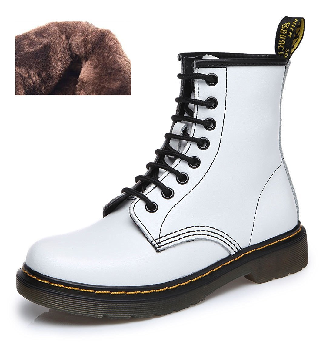 Modemoven Women's Round Toe Lase-up Ankle Boots Ladies Leather Combat Booties Fashion Martens Boots B06XP9J9ZT 6 B(M) US|White Fur Lined