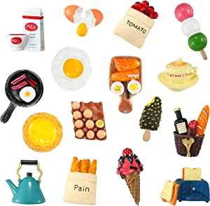 16 Pieces Food Refrigerator Magnets Cute Food Magnets for Fridge 3D Resin Food Magnet Refrigerator Stickers Fridge Simulation Food Magnet Funny Food Shaped Kitchen Magnets for Kitchen Office Board
