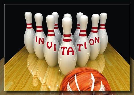 Carte Anniversaire Bowling.Edition Colibri Lot De 10 Cartes D Invitation Bowling