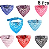 POPETPOP Dog Bandana Collar - 8 Pack Pet Triangle Bibs Collars with Paisley Pattern Dog Collar Scarf/Handkerchief Pet…