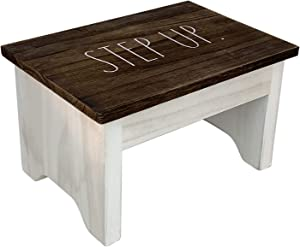 Rae Dunn Wood Step Stool - Mini Brown Wooden Stepping Stand