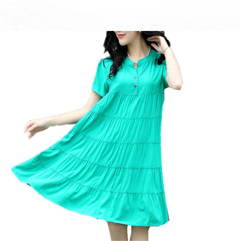 26395d4ecc5 Baqijian Plus Size M-4Xl Short Sleeve Women Summer Dress Soft Cotton Linen  Ol Work Dress V-Neck Button Shirt Dress Party Dress Green XL at Amazon  Women s ...