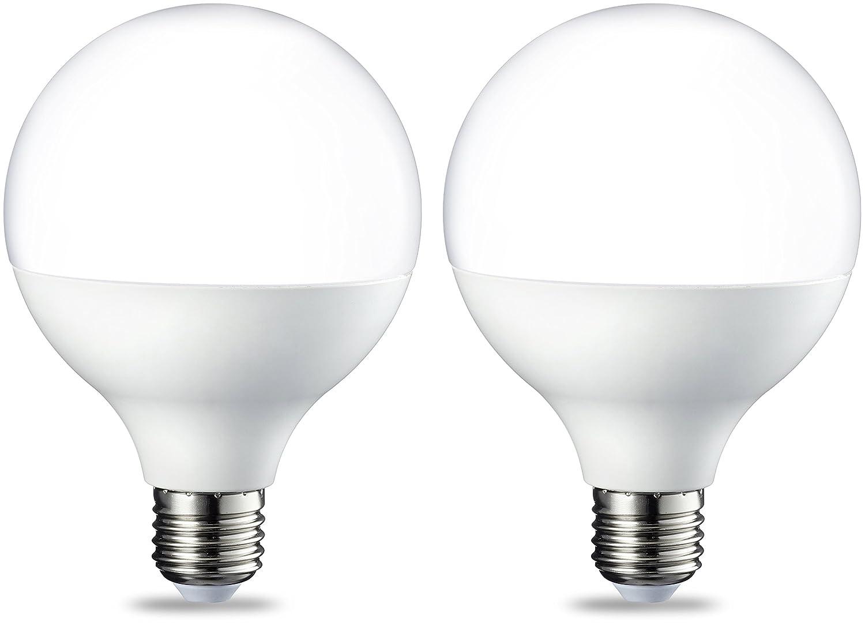 AmazonBasics Bombilla LED Globo E27, 14.5W (equivalente a 100W), Blanco...