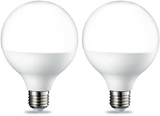 AmazonBasics Bombilla LED Globo E27, 14.5W (equivalente a 100W), Blanco Cálido, 2 unidades: Amazon.es: Iluminación
