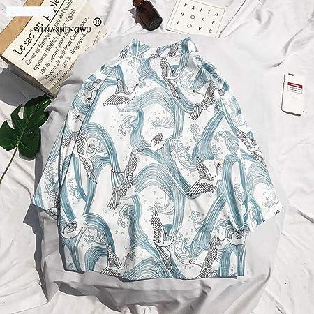 Camisa Japonesa Kimono Cosplay Traje Tradicional Coat Asia Japón Kimono Yukata Cardigan Mujer Harajuku Ocasionales De La Playa De La Blusa De Las Tapas Hyococ (Color : Gold, Size : S): Amazon.es: