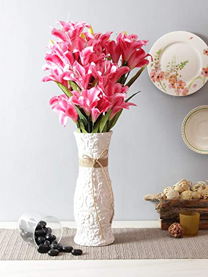 Fourwalls Synthetic Lily Flower Bunch (21 Flowers, Set of 2, Pink) Artificial Flowers at amazon