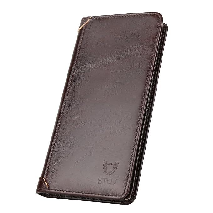 STW-La cartera larga plegable de negocios para los hombres, la cartera de cuero