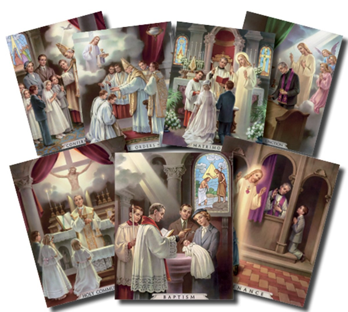 10 Inch 7 Pieces The Seven Sacraments Illustrated Cardstock Poster Set