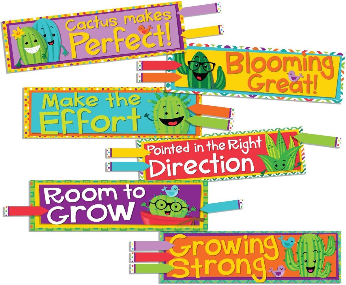 Eureka A Sharp Bunch Teacher Supplies Motivational Cactus Theme Bulletin Board Decorations with Nametags, 36 pcs