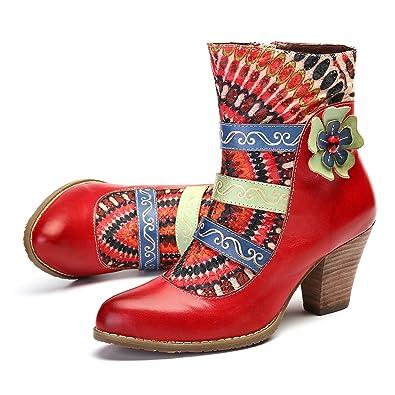 416c1383b26e Camfosy Stiefeletten Damen mit Absatz Hochwertiger Leder Blockabsatz  Winterstiefel Rutschfeste Rillen Sohle Bequeme warme Schuhe Mode
