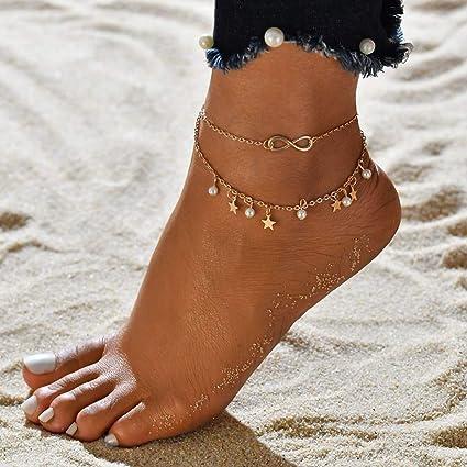 San Francisco prezzo scontato negozi popolari Simsly Beach Love Tassel Star Bracciale alla caviglia Pearl ...