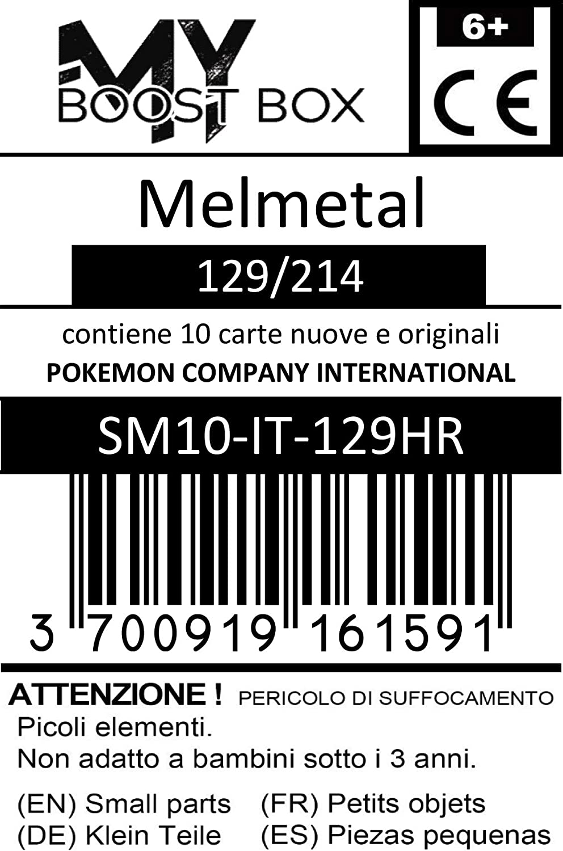 Box di 10 Carte Pok/émon Italiane #myboost X Sole E Luna 10 Legami Inossidabili Melmetal 129//214 Holo Reverse