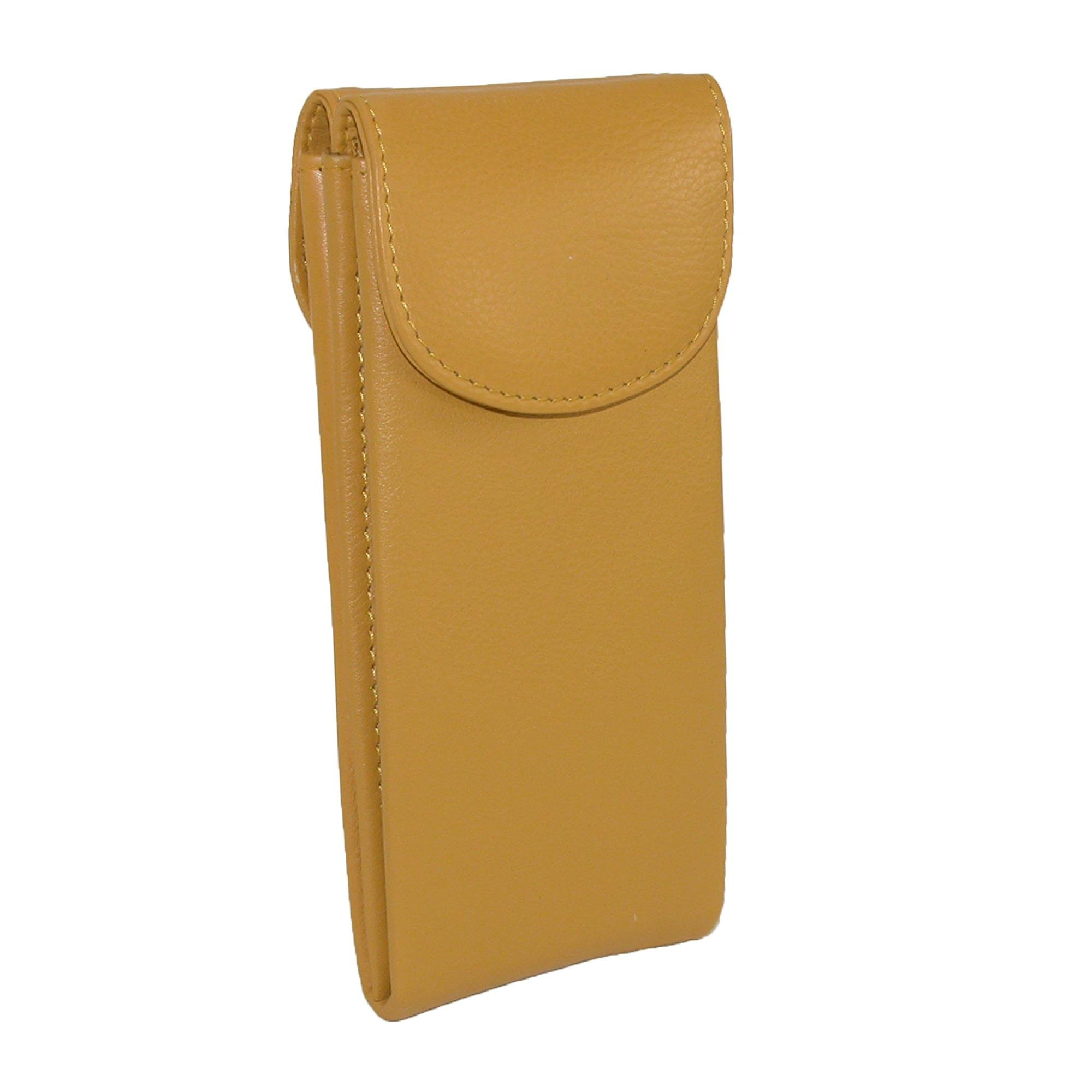 CTM Women's Leather Double Eyeglass Holder Case, Yellow