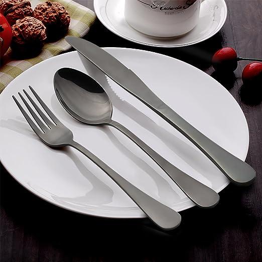 Amazon.com: LIANYU Juego de 20 piezas de plata., Cubiertos ...