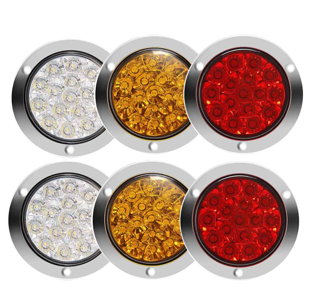 Round LED Truck Trailer Amber/Red/White Taillights with Stainless Steel Rings 16 LED DC 12V 24V Waterproof Stop Brake Running Reverse Backup Turn Sighal Lights for RV Trailer (2Red+2Amber+2White) by Auovo