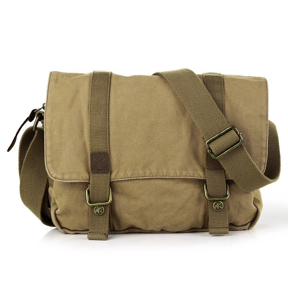 Pellor - Lona + cuero bolso mensajero bolsa para hombre bolso de escuela Koolertron 05
