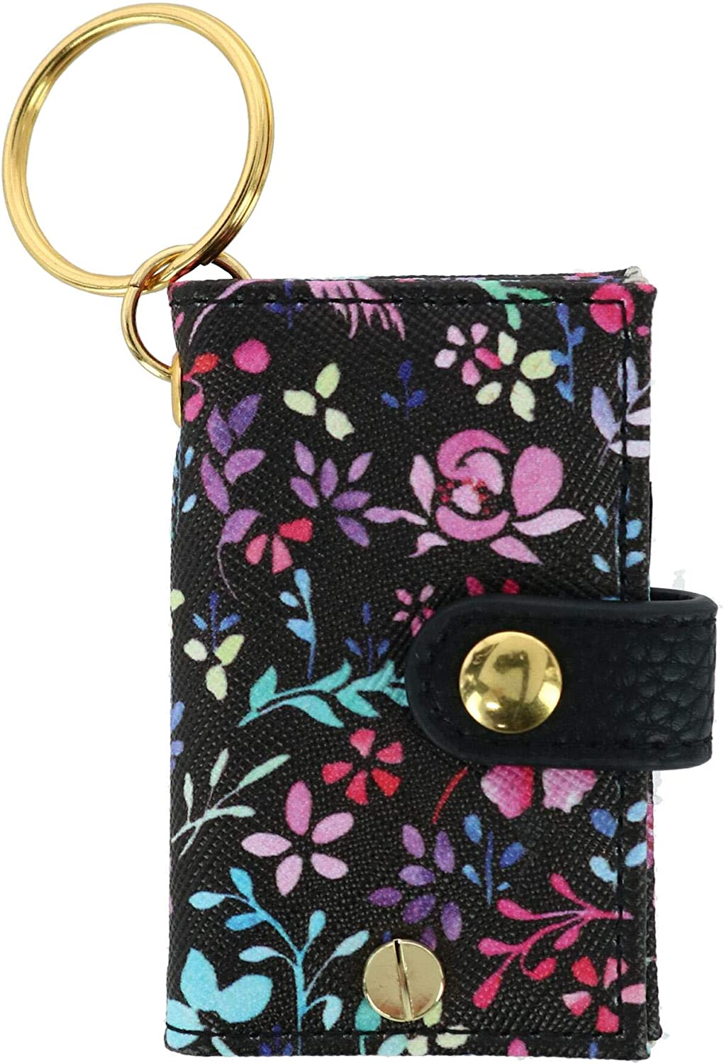Buxton Women's Faux Leather Floral Print Scan Card Keychain Wallet